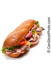A submarine sandwich on a white background - A sumarine...