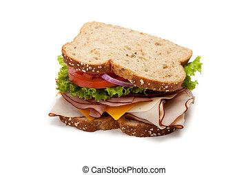 Turkey sandwich on white background - A turkey sandwich on...
