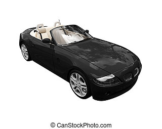 isolated black car front view - isolated black cabriolet car...