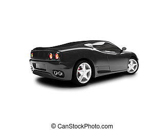 isolated black super car back view 01 - black super car on a...
