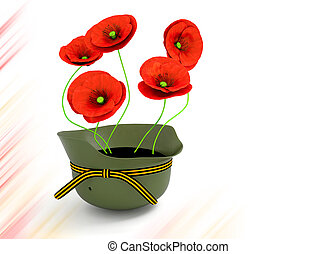 Red poppies . May 9 Victory Day - Red poppies in a soldier's...