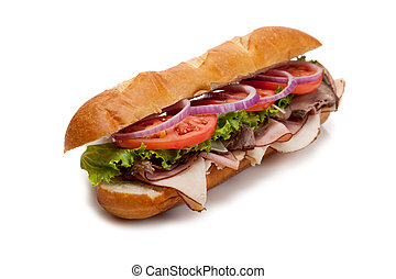 Submarine sandwich on a white background - A submarine...
