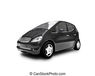 isolated black car front view - black car on a white...