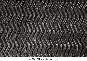Black rubber zigzag texture - Black grooved rubber zigzag...