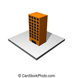 Office Building Cartoon Icon Isolated on White