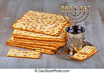 matzo - passover matzo jewish passover bread with kiddush...