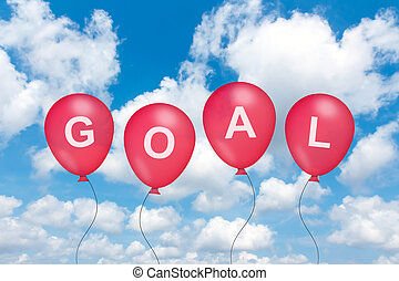 goal text on balloon with blue sky background