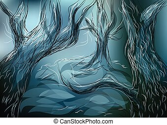 lost forest. abstract trees on a blured background