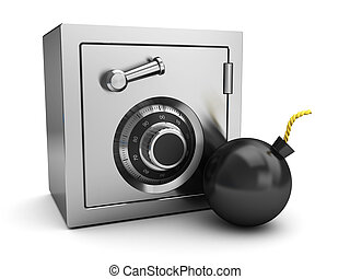 safe and bomb - 3d illustration of locked safe and bomb,...