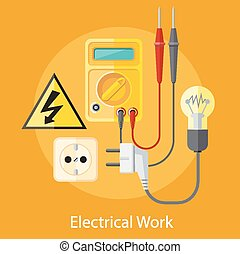 Electrical Work Concept - Electrical work. Socket with...