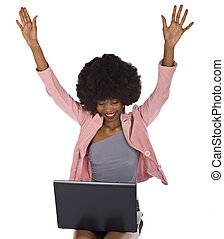 Happy user - African American woman with a notebook on her...