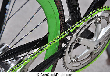 Green Bicycle chain - Green bicycle chain with green tire...