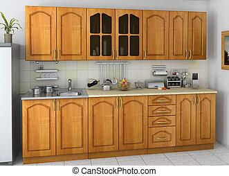 kitchen - 3d render of a kitchen