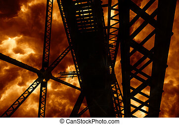Explosion Abstract Steel Girders - Abstract steel framing...