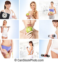 Collage about sport, dieting and healthy eating