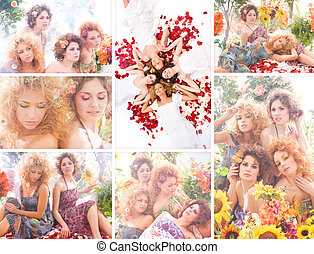 Young women in flowers - Young and attractive women posing...