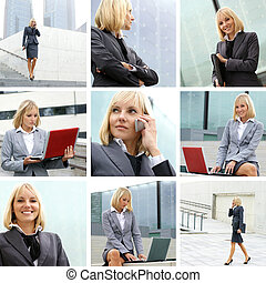 Young sexy business woman collage