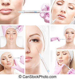 Beautiful woman gets an injection in her face - collage