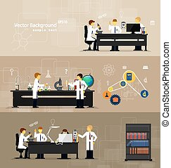 scientists in laboratories conducting research - Vector...