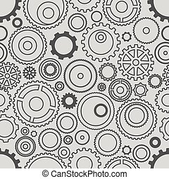 Seamless pattern or different gear wheels. Minimalism illustrati