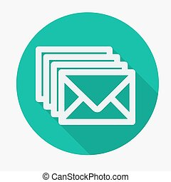 Four envelopes flat icon with long shadow Vector...