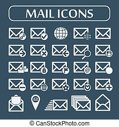 Set of twenty five flat vector mail icons Vector...