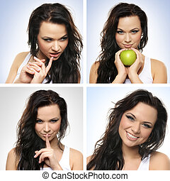 Collage of women with apples