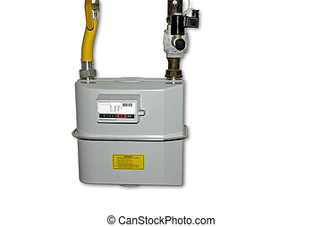 Natural Gas Meter. Isolated with clipping path - Natural Gas...