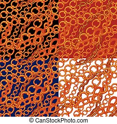 Set of seamless patterns with handdrawn Gold chains on...