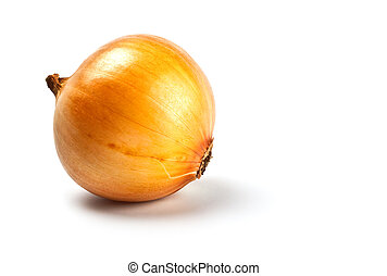 onion in peel isolated on white with shadow
