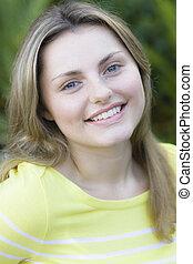 Teen Girl Outdoors - Portrait of a Pretty Blond Teen Girl...