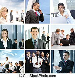 Business collage with many people
