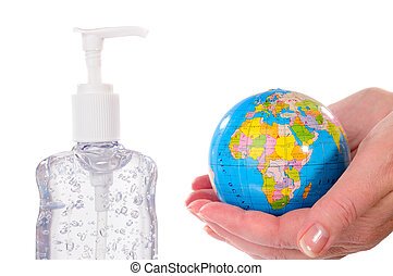 Sanitize The World - Woman Holding A Globe With A Bottle Of...
