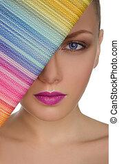 beau,  portrait, femme, bourse, coloré