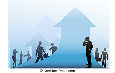 Business People Progress on Arrows Up Background