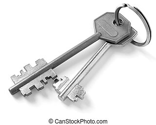keys on key ring in black and white...
