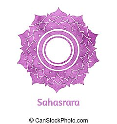 Sahasrara chakra - Vector watercolor illustration of...