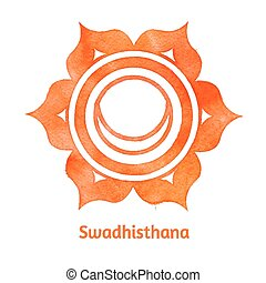 Swadhisthana chakra - Vector watercolor illustration of...