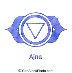 Ajna chakra. - Vector watercolor illustration of Ajna...