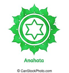 Anahata chakra. - Vector watercolor illustration of Anahata...