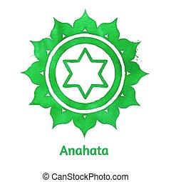 Anahata chakra. - Vector watercolor illustration of Anahata...