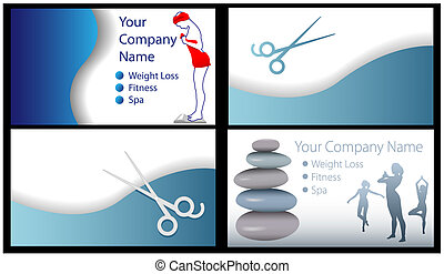 Fitness Beauty Spa Salon Weight Loss Business Card 4 - Set...