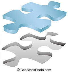 Jigsaw puzzle piece fits in hole on white - A Jigsaw Puzzle...