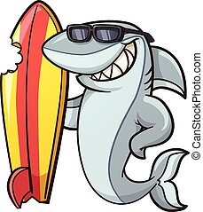 Cartoon shark - Cartoon shark with a bitten surfboard....