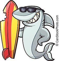 Cartoon shark - Cartoon shark with a bitten surfboard....