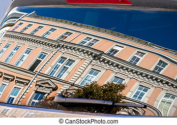 residential buildings in car window - beautiful old houses...
