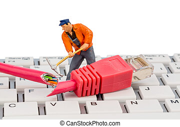 workers, connectors and keyboard - workers, network...