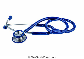 stethoscope - a blue stethoscope lying on a white background...