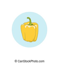 Icon yellow bell pepper,sweet pepper or capsicum - Icon...