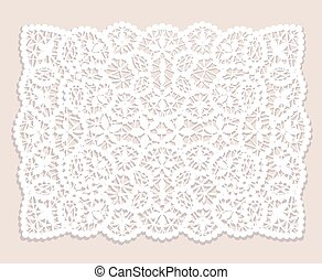 Lace doily - White lace doily with flowery pattern on a...